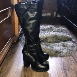 banboo Shoes - Faux leather knee high boots with chunky heel